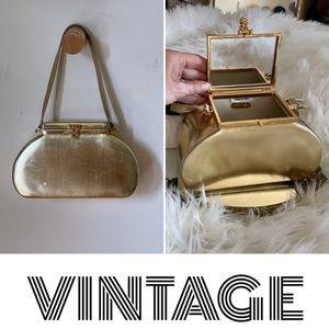 Vintage gold structured handbag